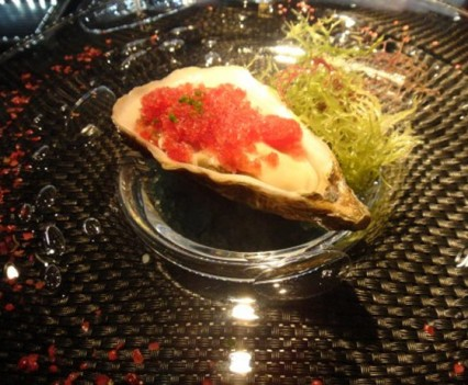 Chef Angelo's oyster with rasberries granite