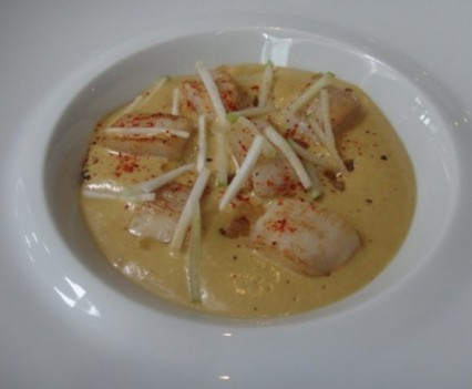 Japanese scallop with lobster bisque foam