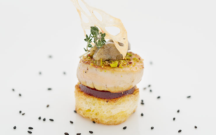 Pan-Seared Foie Gras With Raspberry Jelly And Eggplant Caviar