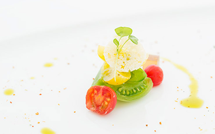 Heirloom Tomato Salad, Parmesan Cheese Tuille And Balsamico Jelly