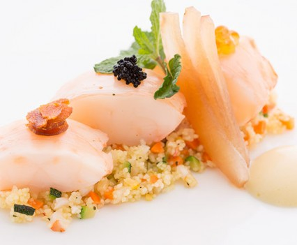 Poached Lobster Sicilian Cous Cous,Caviar, Bottarga And Champagne Zabayone