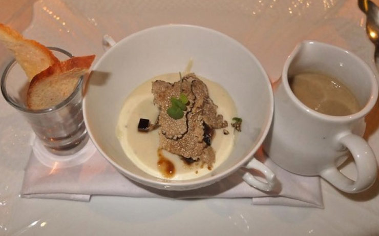 Chestnut Soup and Parmesan Cheese Mousse