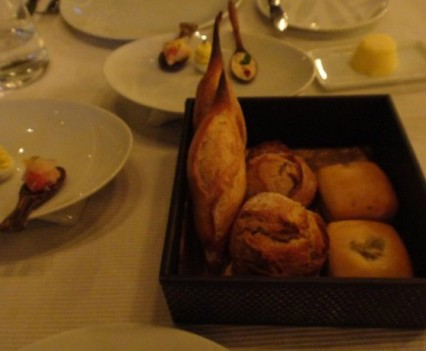 Bread basket with canapes