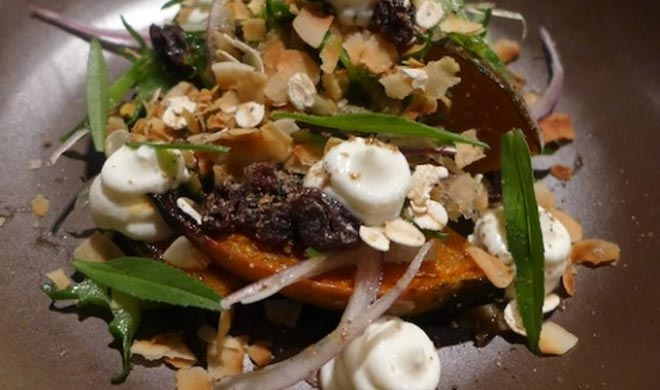 Honey baked pumpkin salad, creamy yoghurt,wing bean,toasted muesly,teragon