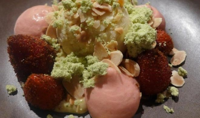 Bbq berry,grilled mountain strawberries, almon ice cream, pandan custard