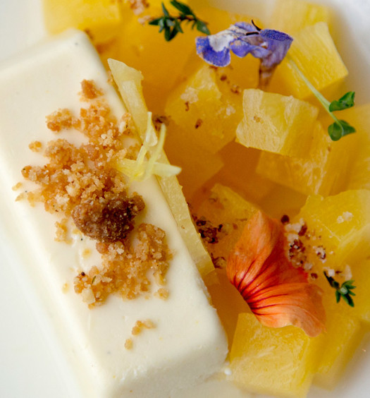 Passion Fruit panna cotta, spicy pineapple