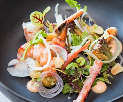 Tiger prawns with young leaf salad & spider crab mayonnaise