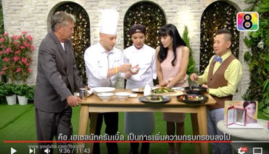 Egidio on Thai Channel 8 serving Pork Belly and Tiramisu